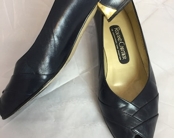 70076beae4d 1980s Roland Cartier navy leather size 5.5