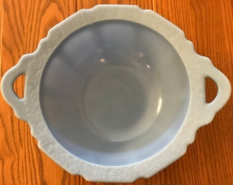 Jeannette Glass Cherry Blossom Delphite Handled Bowl