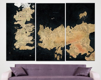 Game of Thrones Map Canvas Westeros and Essos Collector's Poster TV Series Art High Quality Framed Canvas Art Print Home Decor Film wall art