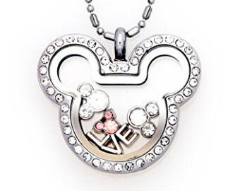 Mickey Inspired Floating Charms Locket with Rhinestone