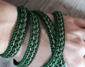 V24 plaited green and gold 12mm