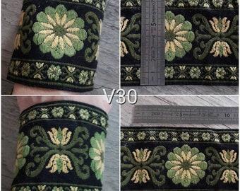 V30 woven wide ribbon black yellow green wool 80mm