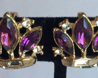 Art Deco Trifari Sparkling Purple & Clear Rhinestone Earrings - Set Completers - Vintage Crown Trifari Deco Rhinestones Earrings