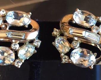 Art Deco Trifari Sparkling Clear Rhinestone Channel-Set Acccent Earrings - Set Completers - Wedding Rhinestone Earrings, Old Hollywood Ears