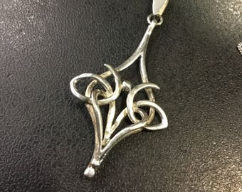 Sterling silver art nouveau style pendant and chain