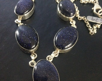 2164. Blue Goldstone Sterling Silver Pendant and Earring Set No