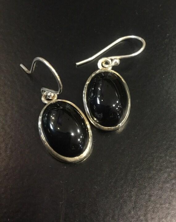 Vintage Oval Onyx 900 Silver  Drop Earrings