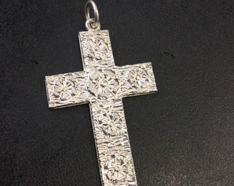 Silver roses cross