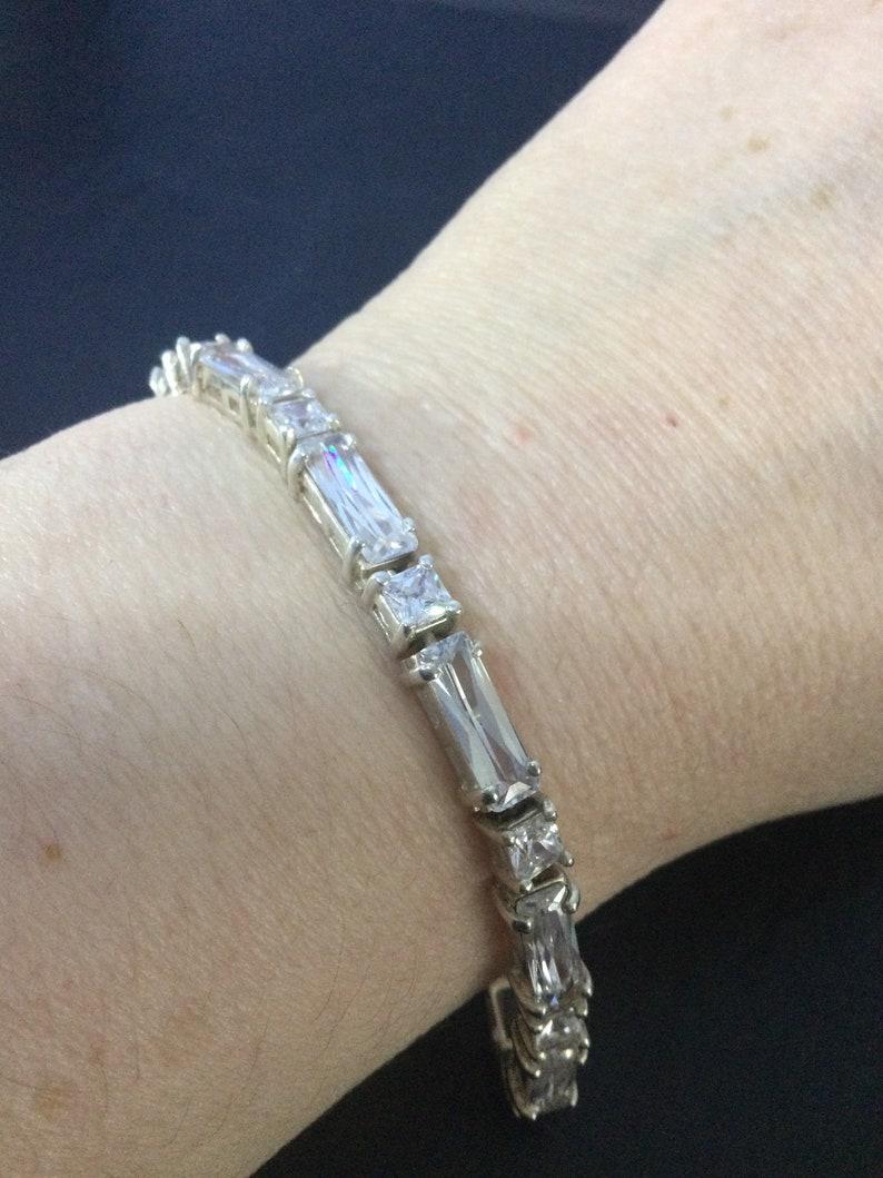 Silver cubic zirconia bracelet,extra long