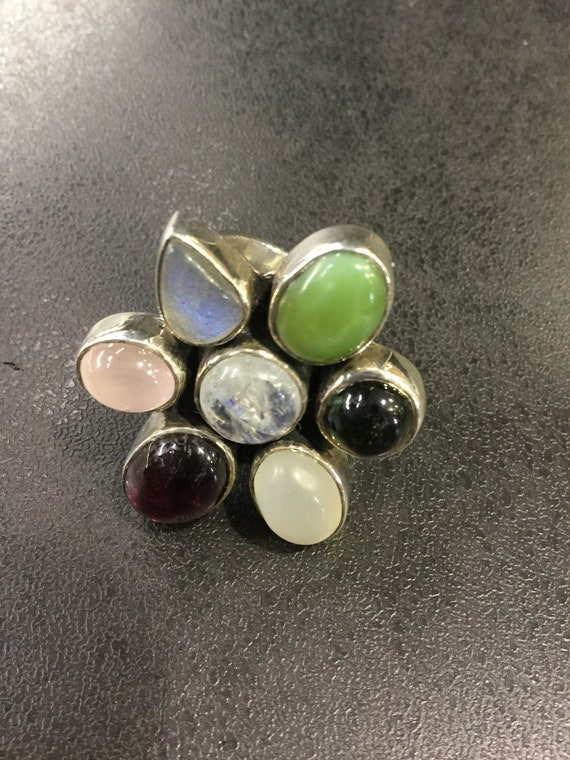 Silver multi gemstone ring