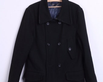Tommy Hilfiger Womens M Coat Double Breasted Black Wool Nylon Winter
