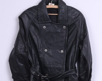 Workers For Freedom Womens 10 Leather Coat Double Breasted Vintage