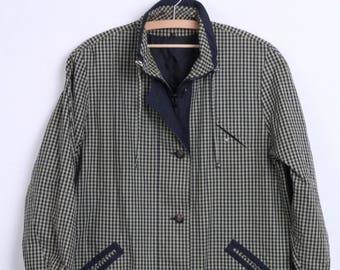 MAY Womens 44 2XL Jacket Green Check Cotton Vintage