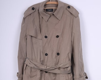 Bugatti Mens 50 Trench Coat Double Breasted Oversize Beige Cotton Nylon Padded