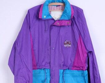 Open Air Outdoor Clothing Womens L Jacket Waterproof Purple Vintage Festival Hidden Hood