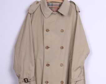 Melka Mens 56 2XL Coat Double Breasted Beige Trench Vintage
