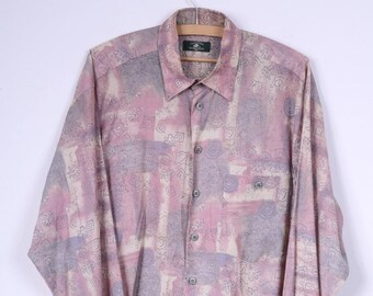 Casualland Mens L 41/42 Casual Shirt Single Breasted Long Sleeve Vintage Retro