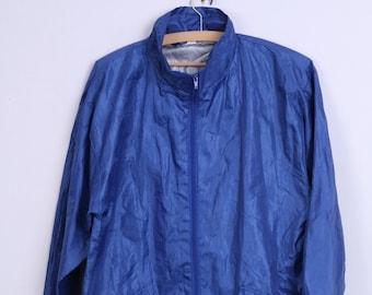 80s Womens S/M Jacket Blue Lightweight Top Hood Zip Up