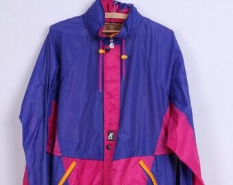 KWAY Womens L Jacket Pink Purple Nylon Waterproof Top Hidden Hood Zip Up