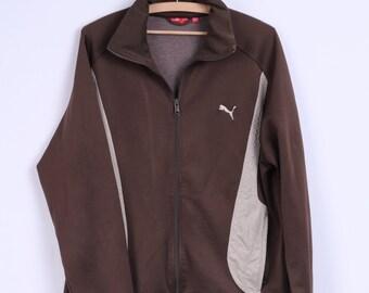 Puma Mens XL Sweatshirt Brown Zip Up Training Sport Track Top