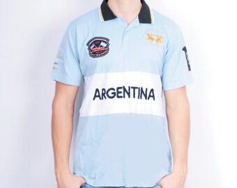 La Martina Mens L Polo Shirt Blue Argentina Sport Top