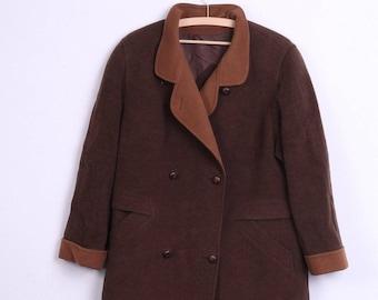 Hensel&Mortensen Womens 2XL 21 Coat Double Breasted Brown Lambswool Vintage