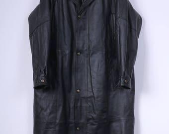 Charles Klein Mens L Long Coat Leather Black Raglan Sleeve Vintage