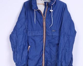K-WAY Mens S Jacket Blue Hidden Hood Zip Up Lightweight Sport Top
