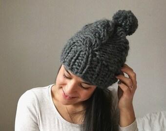 Bonnet   tricot   grosse maille   Torsade   100% laine   fait main 048c495741e