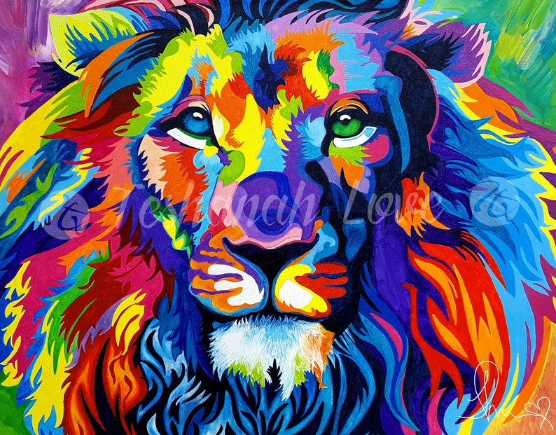 Original Vibrant Colorful Lion Acrylic Painting On Canvas Etsy