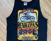Vintage 19th Annual Harley Rendezvous Indian Look Out Country Club 1997 Tank Oneita USA Biker
