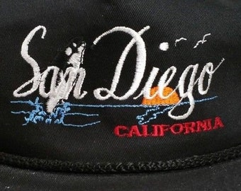 75e094eadb9 SAN DIEGO CALIFORNIA Black Rope Braided Snapback Hat Embroidered Patch 80s  90s