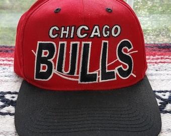 f6b831c6ebe 90s Chicago Bulls Snapback Hat Cap NBA Basketball Michael Jordan Spellout  Script Grunge