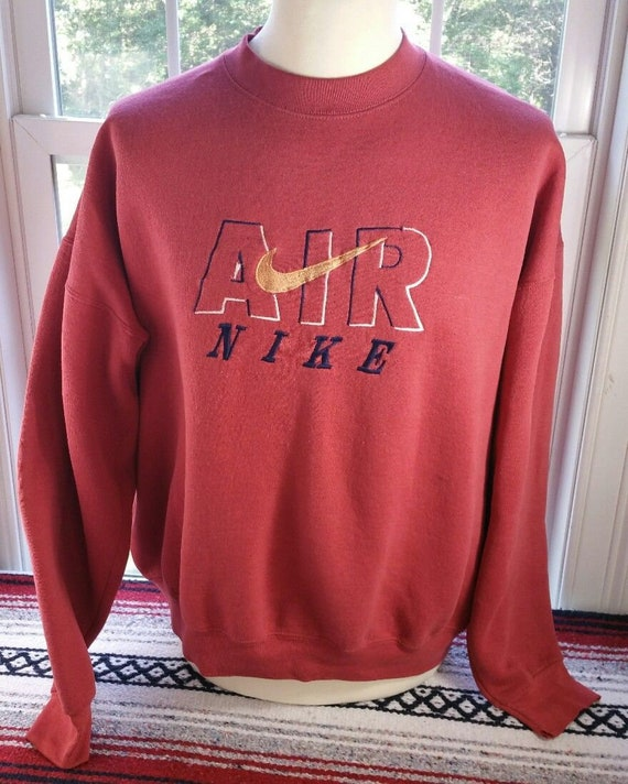 Vintage 90s NIKE AIR Spellout Logo Crewneck Sweater Size XL Salmon Color Grunge Hip Hop Street Wear