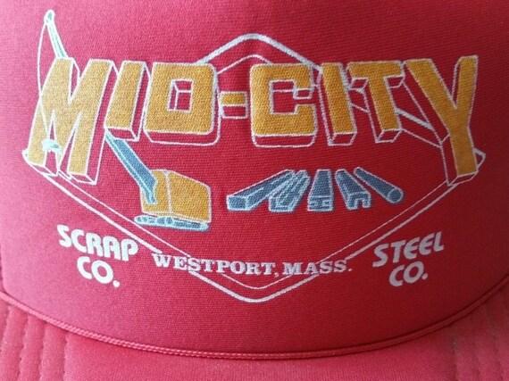 99cacd18d26 Vintage 80s MID-CITY Steel   Scrap Co Westport Mass Red Mesh Foam Trucker  Hat