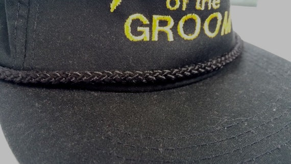 cbbd2b73884 vtg 80s FATHER Of The GROOM Black Braided Snapback Trucker Hat