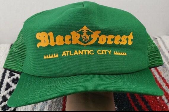 07f6a497c2e Vintage 80s Black Forest ATLANTIC CITY Green Trucker Foam Mesh