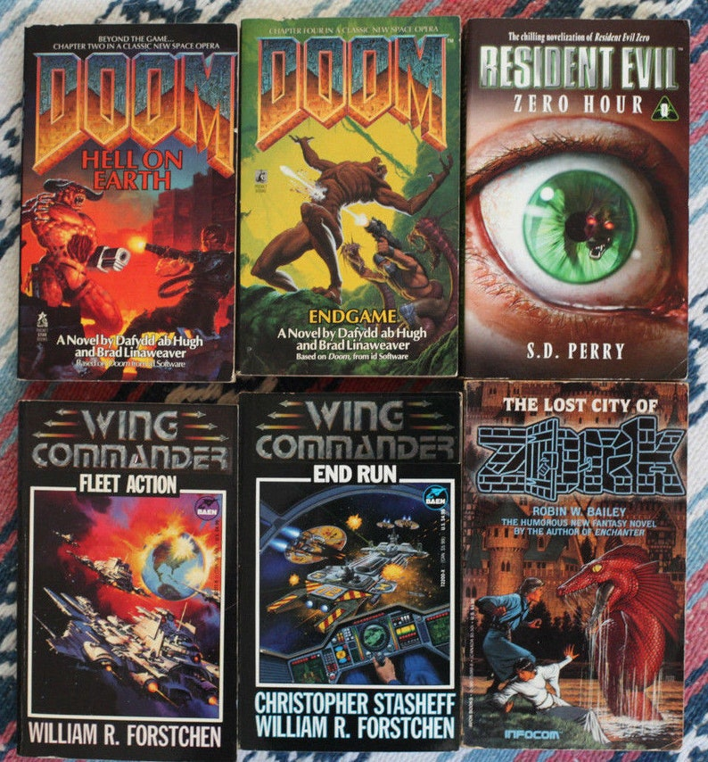 Rare Lot 6 Vintage Video Game Novels DOOM Resident Evil Wing Commander Zork  Books