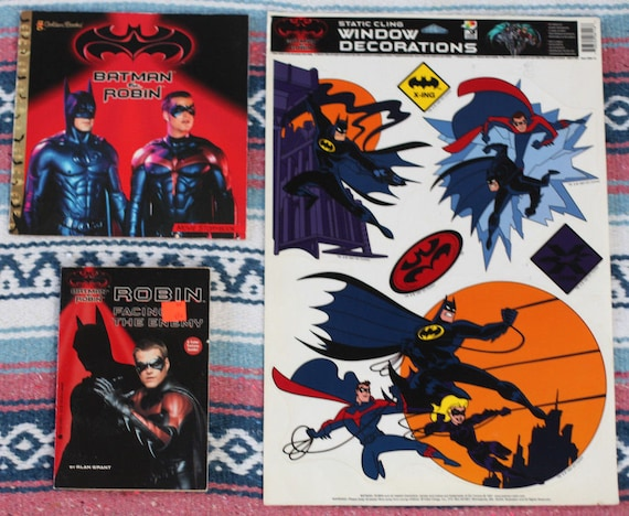 Batman Robin 1997 Movie Lot 2 Books Window Clings 90s Etsy