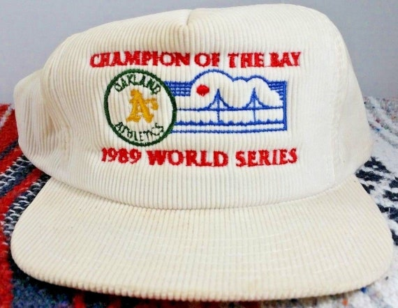 3f707bb0f8f 1989 OAKLAND A s WORLD SERIES White Corduroy Snapback Hat