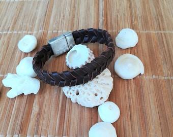 Leather bracelet. Leather bracelet. Leather bracelet. Handmade. Bracelet with clasp. Armlet leather. Braided Leather bracelet.