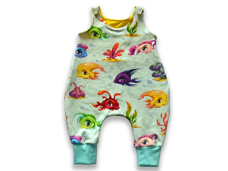 Baby harem romper rainbow FISHES print harem jumpsuit playsuit harem overall unisex preemie to 2T new baby girl gif FISHES print romper