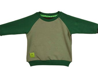 Sweatshirt, cotton, green, brown, khaki, hoodies, sizes 6 months - 5 years, for a girl, for a boy,
