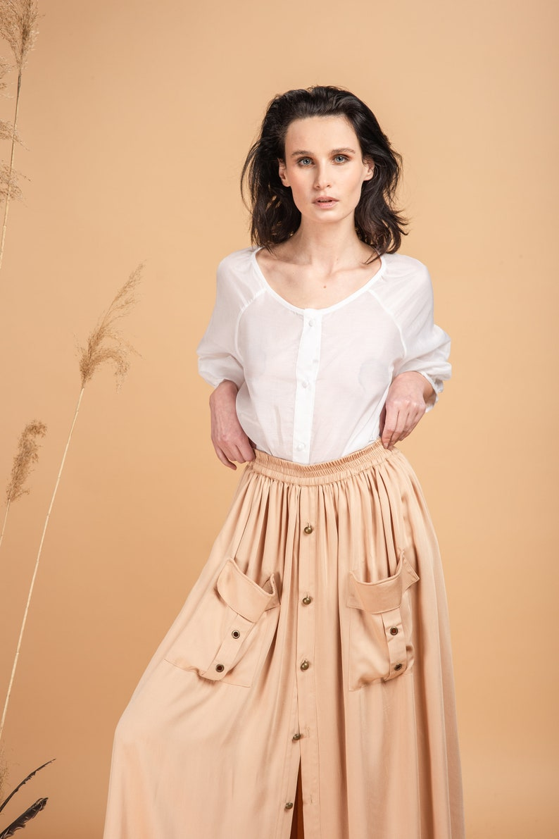 Pleated Skirt with 2 Patch Pockets 100/% Tensel Viscose  Maxi Skirt Circle Edwardian Aesthetic Clothing