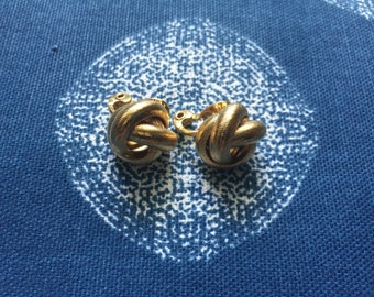 Gold Rope Ball Clip On Earrings