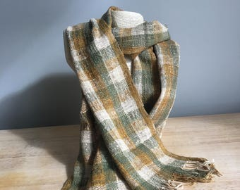 Handmade scarf from Madagascar - Green, goldenrod (yellow), natural (beige)