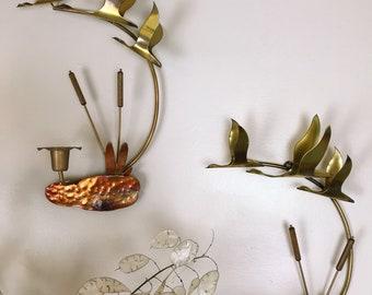 Brass Bird Candelabra, Vintage Candelabra, Vintage Candle Holder, Vintage Wall Decor, Mid century Modern Candelabra, Candelabra, Sconce