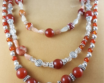 Brick red and Silver Necklace and Earrings
