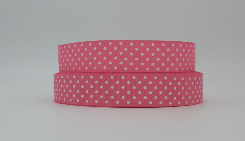 Light Pink Polka Dot 25 Metre Grosgrain Ribbon