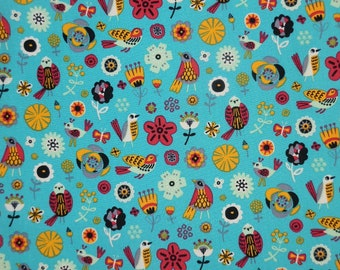 Pretty Turquoise Birds and Flower Design Cotton Fabric - 100% Cotton